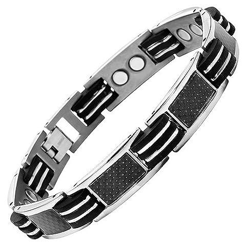 Willis Judd Mens Titanium Magnetic Bracelet With Black Carbon Fibre In Black Velvet Bracelet Box + Free Link Removal Tool