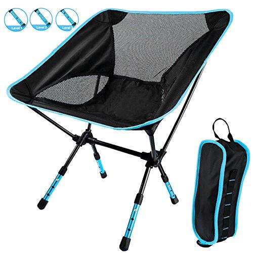 Notens portatile sedie pieghevoli ultraleggero pesca sedie sdraio in spiaggia sedia da per campeggio,pesca,all'aperto, escursioni, picnic con borsa (blu)