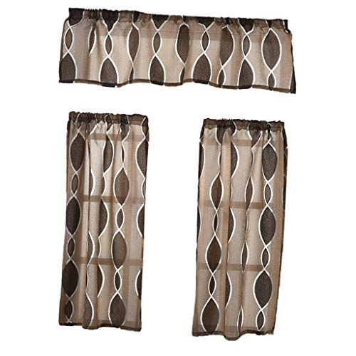 PETSOLA 3pcs / Set Küche Bad Fenster Vorhang Gardine mit Volant - Dunkler Kaffee (Volant Vorhänge Für Das Bad)
