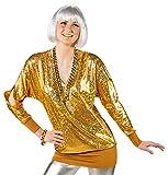 90er Jahre Metallic Disco Wickelshirt für Damen - Gold Gr. 38 40