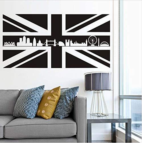 WFYY Großbritannien Großbritannien Flagge von Schottland Karten Wandtattoos England Wahrzeichen Gebäude Silhouette Removable DIY Tapete Zimmer Büro Aufkleber 115Cm X 58Cm