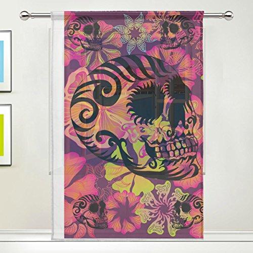 jstel Totenkopf Blumen Muster Floral Print Tüll Voile Tür Fenster Zimmer Sheer Vorhang Tuch 1Panel Schal Volants breit Breite Gaze Vorhang für Schlafzimmer 139,7x 198,1cm, Single Panel, Polyester, 55 x 78 Inch