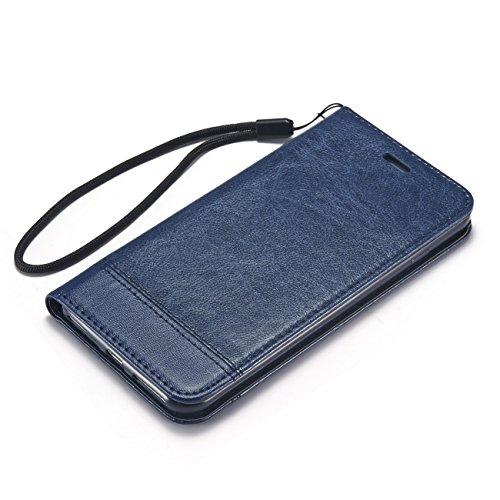 AddGuan iPhone 7 Case, PU Cuoio Alta Qualità+[Carta Slot]+[Magnetico Chiusura]+[Creative Foldable Stand] Clamshell Adatto Per iPhone 7 Case (Marrone) Blu