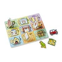 Un'entusiasmante tavola di attivit� in legno ha 11 porte. Quando si aprono, si trova un pezzo magnetico coloratissimo. Il gioco consiste nello spostare i pezzi sotto le diverse porte e giocare a indovinare dove saranno!