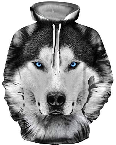 Ocean Plus Herren 3D Mehrfarbig Hoodie Schädel Kapuzenpullover Bunt Wolf Pulli Totenkopf Sweatshirt mit Kaputzen (S/M (Brustumfang: 112-132CM), Husky) -