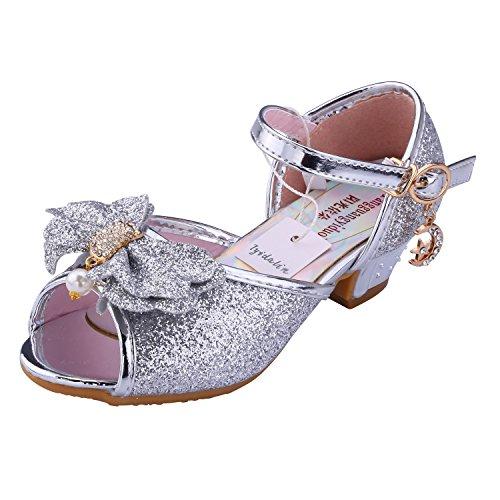 Scarpe Con Tacco Bambina Ragazza Principessa Ballerina Costume Sandali - Tyidalin Perline e Paillettes Eleganti Glitter Carnevale Cerimonia per Bambini 3 - 12 anni Rosa Blu Argento Oro EU25-36