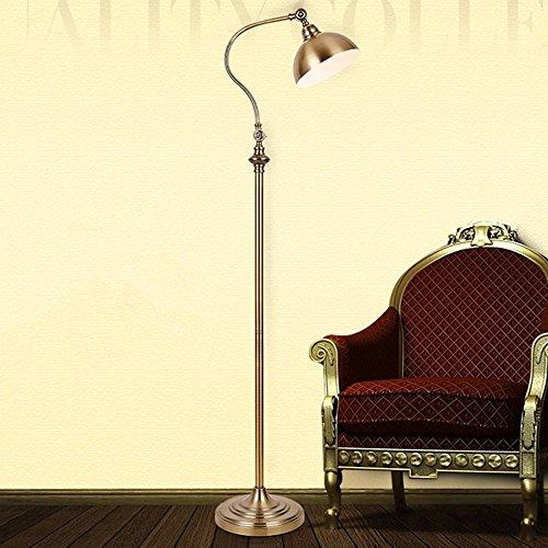 Retro classic oro lampada da terra elegante rame lampada da terra a collo di cigno paese americano lampada da terra in ferro battuto per soggiorno camera da letto pianoforte, h150cm φ30cm e27
