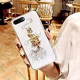 Herbests Kompatibel mit iPhone 8 Plus/iPhone 7 Plus 5.5 Silikon Hülle mit Strass Diamant Ring Ständer Bling Glänzend Glitzer TPU Handyhülle Crystal Clear Case Transparent Schutzhülle Tasche,Pfau