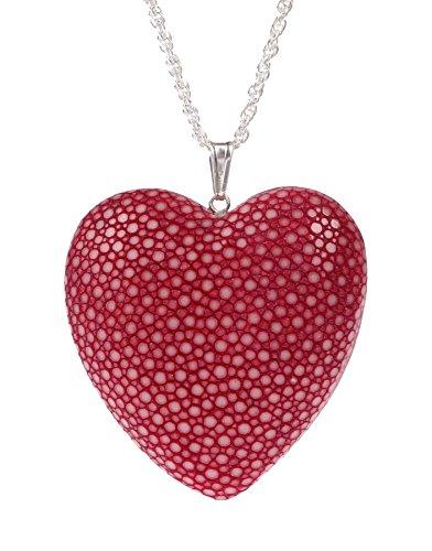 Halskette mit großen Herz Anhänger aus Rochenleder Rot I Echt Silber I Herzkette