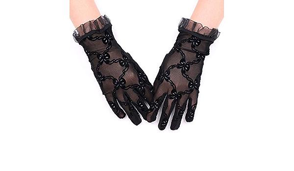Spitzenhandschuhe Netzhandschuhe Satinhandschuhe Brauthandschuhe Wei/ß Schwarz Spitze Bogenverzierung Fingerlos Handschuhe Damen Handschuhe Sommer Sonnenschutz Handchuhe f/ür Oper Hochzeit Karneval