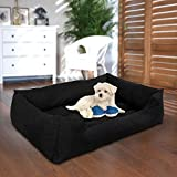 #2: Petitude Square Shape Reversable (Black)color Ultra Soft Ethenic Designer Velvet Bed For Dog & Cat(Export Quality)-Medium