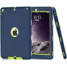TKOOFN PC + Silicona Híbrido Funda Carcasa Cubierta Caso diseñdo para Apple iPad Air iPad 5 + Forro de Limpieza + Protector de Pantalla + Stylus - A Prueba de Golpes - Verde Oscuro + Amarillo Verde