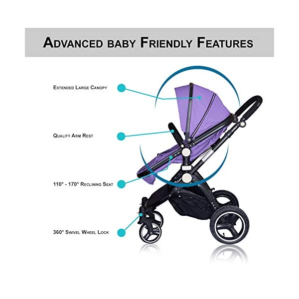 High Quality Baby Stroller IBEIS Prams 2 in 1 for Newborns European Folding Baby Carriage for 0 to 36 Months (Purple) IBEIS 360 degrees turn Easy fold-able button Tiltable (various angles) 5