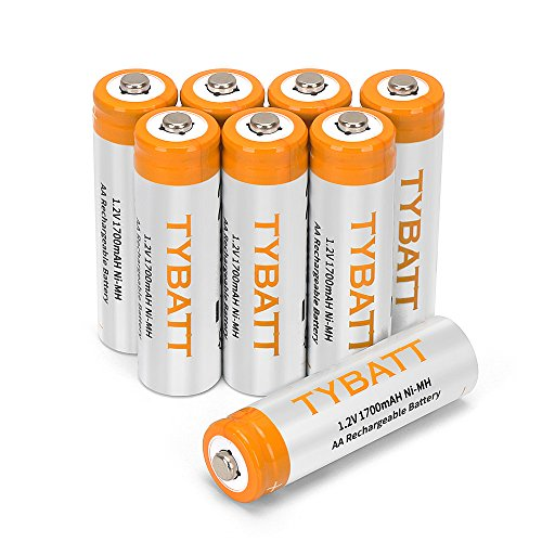 REEXBON 8-er Pack AA Akku Mignon 1.2v 1700mAh Ni-Mh Wiederaufladbare AA Batterien ohne Memory-Effekt - sofort einsatzbereit, inklusive Aufbewahrungsbox
