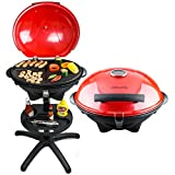 Andrew James Red Electric BBQ Grill with Built In Thermometer Gauge Ideal for Outdoor and Indoor Use All Year Round