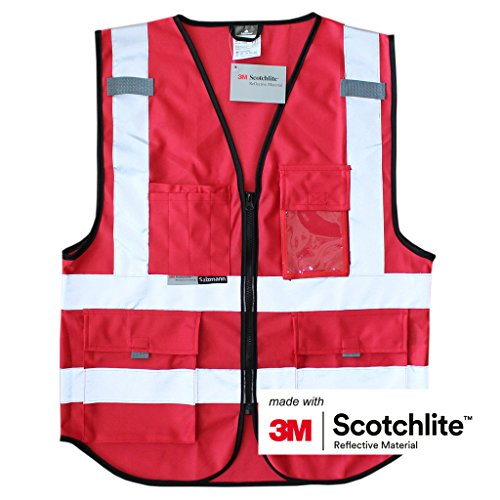 Salzmann 3M Scotchlite Unisex Arbeitsweste ausgestattet mit 3M Scotchlite Reflektierende Material mit Vier Vornen Taschen und Rei_verschlu_, S/M (Tasche Rot Lux)