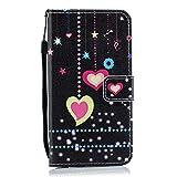 Carols Coque Sony Xperia L1, Peint Sony Xperia L1 Coque Dragonne Portefeuille PU Etui TPU Bumper Case - Petit Coeur b