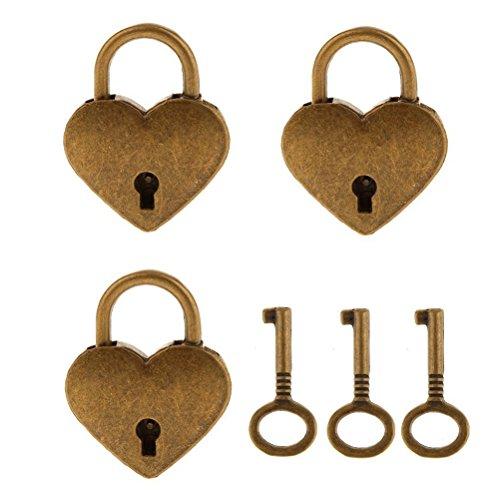 NUOLUX Vintage Herz Form Vorhängeschloss mit Schlüssel verriegeln Set - Antik Messing M 3pcs (Bronze) Vintage Vorhängeschloss