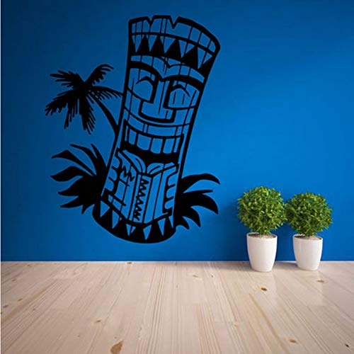 Decoración tatuajes de pared sala de estar decoración para el hogar impermeable Art Sticker Wallpaper totem Isla Hawai Máscara Cultura 56x73 cm