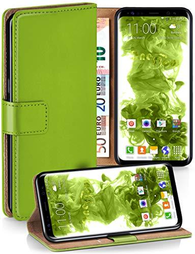 moex Booklet mit Flip Funktion [360 Grad Voll-Schutz] für Samsung Galaxy S8 | Geldfach und Kartenfach + Stand-Funktion und Magnet-Verschluss, Grün