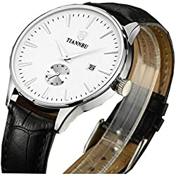 Bellesie Waterproof Silver-tone Men's Ultra-thin Chronograph Quartz Wrist Watches with Black Leather & Date