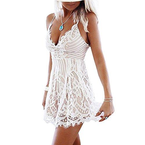 Vandot Damen Lace Kleid Sexy V-Ausschnitt Kleid Boho Ärmellos Sommerkleid Strandkleid Casual Mini Dress Bandage Overall Lace Hollow V-Neck High Taille Kleid Weiß M