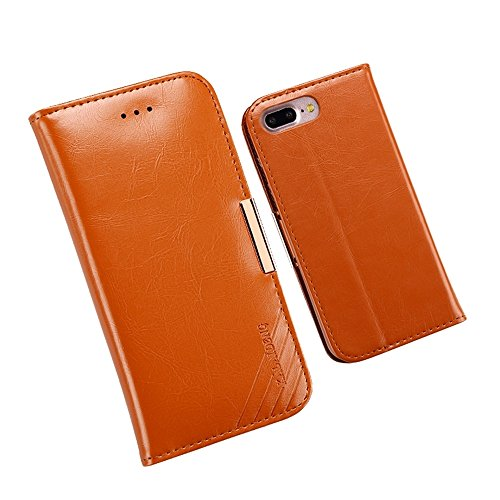 Wkae KALAIDENG ROYALE Serie TPU Magnetische Horizontale Flip Echtes Leder Etui mit Kartenfächern & Halter für iPhone 7 Plus ( Color : Black ) Brown