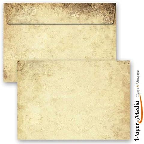 Paper-Media ALTES PAPIER - Sobres con diseño impreso (formato C6, 162 x 114 mm, 10 unidades, diseño de imitación de pergamino, sin ventana y con solapa autoadhesiva)