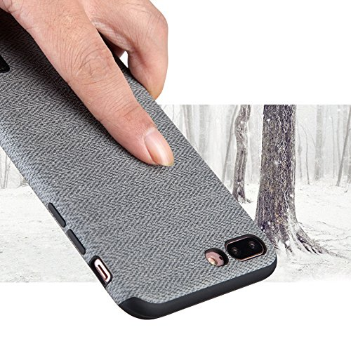 "MOONCASE iPhone 7 Plus/iPhone 8 Plus Hülle, Weich TPU Kratzfest Stoßfest Schutztasche [Fabric Pattern] Schroff Rüstung Handysocken Case für iPhone 7 Plus/iPhone 8 Plus 5.5"" Dark Blue-2 Grey-1"
