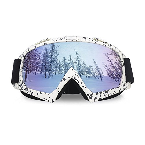 Tourwin Maschera da Sci/Moto, Occhiali da Moto/Snowboard,con Lente UV400 Antivento Antipolvere, Anti graffio, per Donna e Uomo Unisex White2