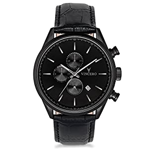 Vincero Luxury Men's Chrono S Watch with Italian Leather Watch Band
