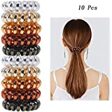Fameza 10PCS Spiral Hair Ties Rubber Telephone Wire Hair Rings Slinky Hair Head Elastic Band for Girls Women