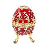 QIFU - Joyero Decorativo con bisagras, diseño de Huevo de Fabergé Pintado a Mano, decoración del hogar