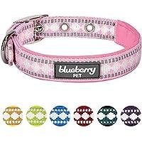[Gesponsert]Blueberry Pet Halsbänder für Hunde 2cm M 3M Reflektierendes Hundehalsband in Pink mit Jacquardmuster