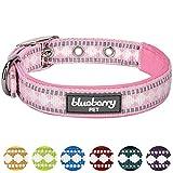 Blueberry Pet Halsbänder für Hunde 1,5cm S 3M Reflektierendes Hundehalsband in Pink mit Jacquardmuster
