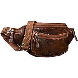 STILORD 'Eliah' Riñonera o Bolsa de Cuero Vintage Bolso de Cintura Cadera o cinturón para Hombre y Mujer para Deportes Running Fiestas Ocio o Aire Libre, Color:marrón - Antico