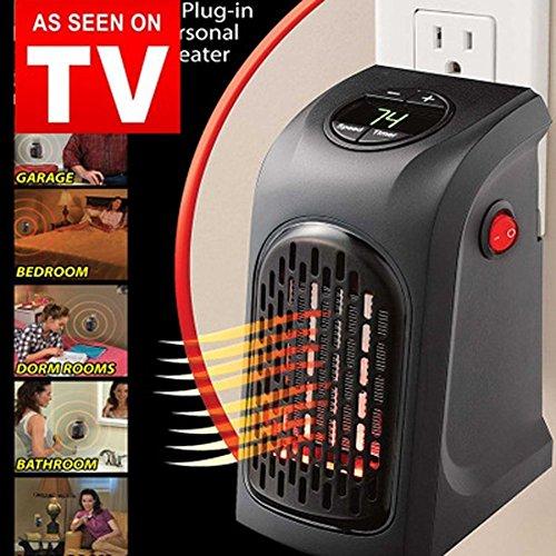 Mini portátil Calentador, Creativo Hogar Calentador, sistema inteligente del control y la exhibición de Digitaces LED (Negro)