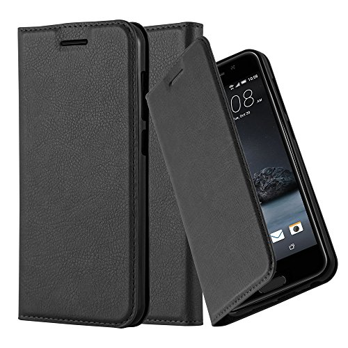 Cadorabo Hülle für HTC ONE A9 - Hülle in Nacht SCHWARZ – Handyhülle mit Magnetverschluss, Standfunktion und Kartenfach - Case Cover Schutzhülle Etui Tasche Book Klapp Style