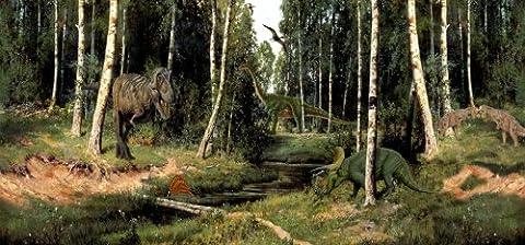 Grande affiche d'une scène de dinosaures préhistoriques–120x 60cm–pour enfant Décoration chambre à coucher.