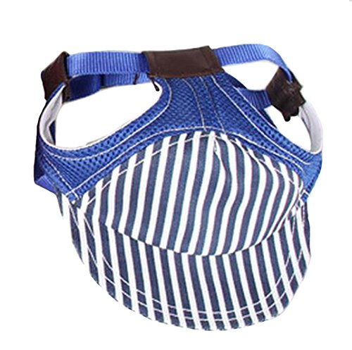 Crasy Shop Stripe Canvas Pet Dog Sun Hat Adjustable Sports Baseball Cap with Ear Holes for Puppy Dog Cat (S, Blue) 1