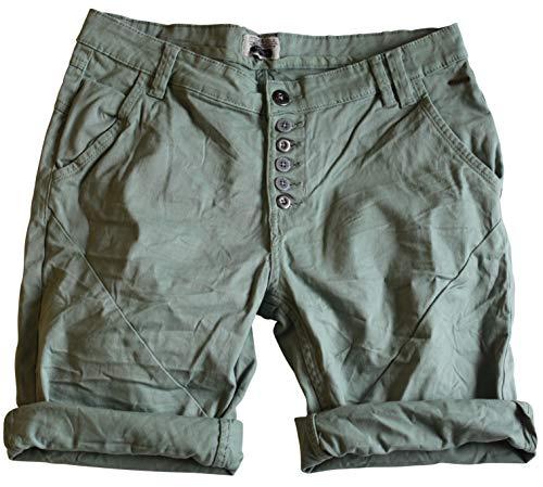 STS Damen Jeans Bermuda Short by Boyfriend Look tiefer Schritt Jeansbermuda mit Kontrastnähten Washed (M, Hell Grün) - Grüne Jeans-shorts