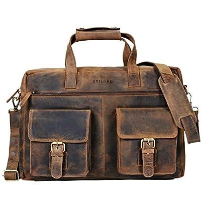 STILORD 'Ron' Vintage Sacoche Cuir pour PC Portable 15.6 Pouces Sac à Bandoulière XL pour Travail Business Université en Cuir véritable