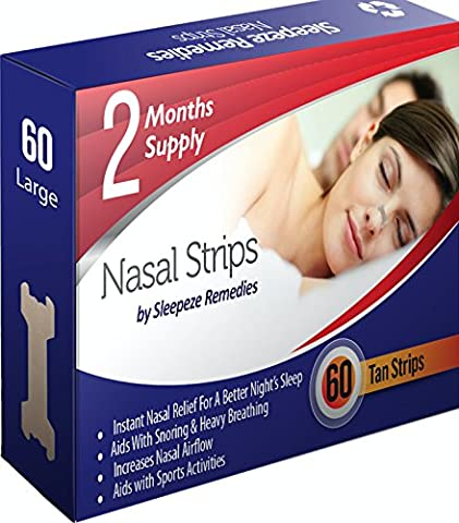 Nasal Strips Large (60 Strips/£0.23 each) by Sleepeze Remedies® - PREMIUM QUALITY Anti Stop Snoring & Sleeping Aids that Support a Better Night's Sleep - These Nasal Dilators Are Ideal for People Suffering from Sleep Apnea, Nasal Congestion, Insomnia and Laboured Breathing Difficulties - Fits Medium and Large Size Noses - Buy 2 Get FREE Delivery - Supporto Della Borsa Di Visualizzazione