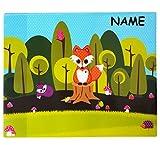 Fuchs & Waldtiere - Schreibtischunterlage - 50 cm * 39 cm - incl. Name - Unterlage / Knetunterlage / Tischunterlage - Kinder / Pilze Tiere Tier - Füchse Igel ..