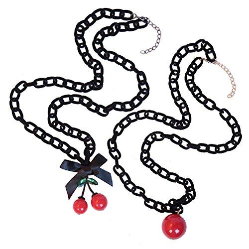 BESTOYARD 2 Stücke Süße Kirsche und Bowknot Design Perlen Anhänger Halskette Geschenke Für Frauen Mädchen (Stück Sehr Kirsche 2)