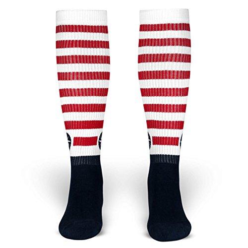 Ismael | Socken von ROCKASOX | Weiß, Blau getsreift mit Windrose | kniehoch | Unisex Strümpfe Size M (Rocker Kostüm Grunge)