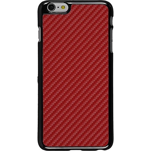PhoneNatic Case für Apple iPhone 6 Plus / 6s Plus Hülle silber Carbonoptik Hard-case für iPhone 6 Plus / 6s Plus + 2 Schutzfolien Rot