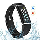 VicTsing Aktivitätstracker IP68 Wasserdicht Fitness Tracker Schrittzähler Smart Armband, Schwarz, 0,96 Zoll Farbdisplay