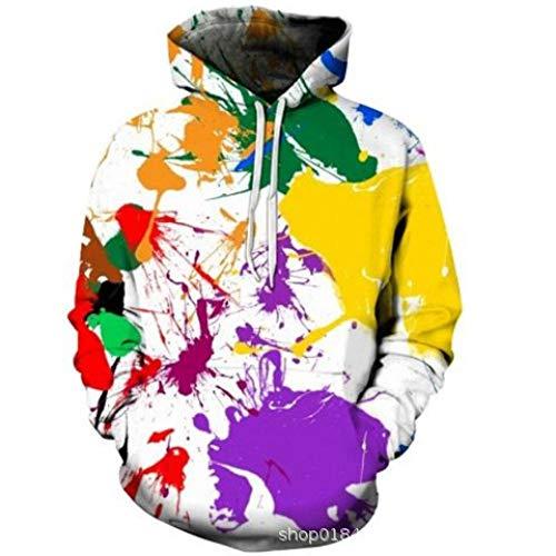 jiuyaomai Sweatshirt Coppia di Uomini e Donne con Cappuccio in Maglione di Vernice Colorata 3D L