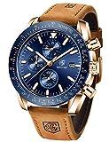 Benyar impermeabile cronografo orologi moda casual cinturino cinturino in pelle da uomo (marrone blu)